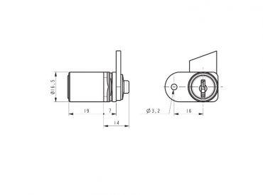 32300-02 Single Wing Hooked Cam Pedestal Lock