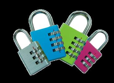 Asec Coloured Aluminium Open Shackle Combination Padlock