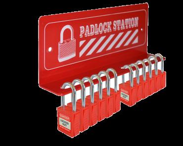 Asec 12 Padlock Mini Lockout Tagout Station