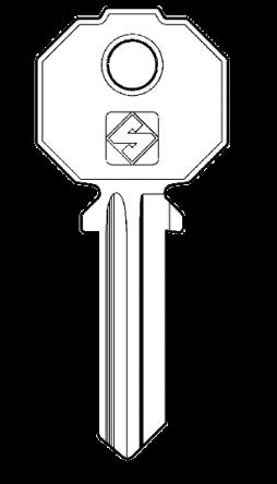 Silca PF092S Cylinder Key Blank  To suit Prefer, Promo & UniforLocks  Steel Key