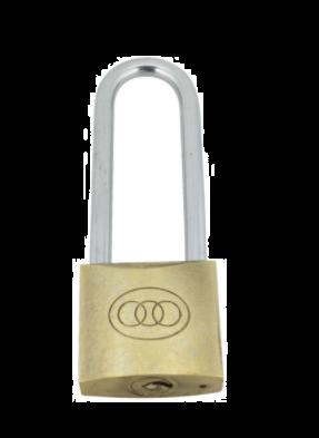 Tri-Circle Brass Long Shackle Padlock